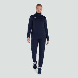 Haut d'entraînement à couche intermédiaire avec fermeture zippée pour femme, bleu marine