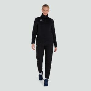 Haut d'entraînement à couche intermédiaire avec fermeture à glissière Quarter Femme Noir