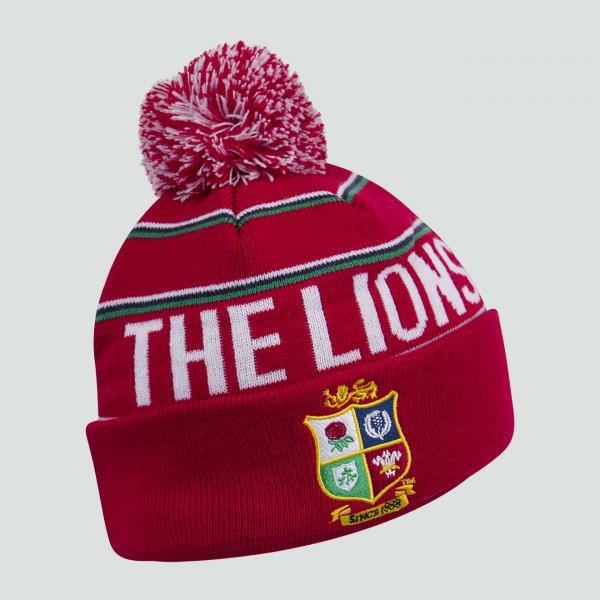British & Irish Lions Fleece Lined Bobble Hat Red